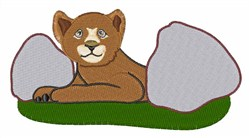 Lion Cub and Rocks embroidery design