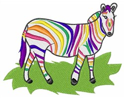 Rainbow Zebra embroidery design