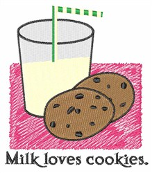 Milk Loves Cookies embroidery design