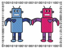 Love Robots embroidery design