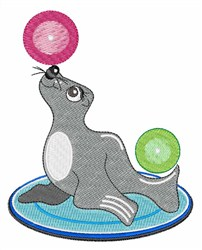 Playful Seal embroidery design