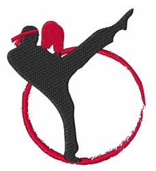 Kick Boxer Silhouette embroidery design
