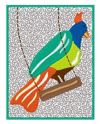 Bird on Swing embroidery design