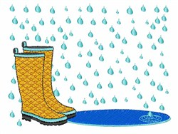 Rainboots in the Rain embroidery design