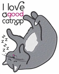 A Good Catnap embroidery design