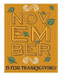 Thanksgiving November embroidery design
