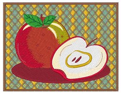 Framed Red Apple embroidery design