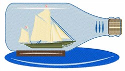 Ship in a Bottle embroidery design