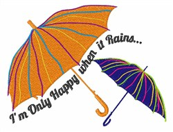 Happy When it Rains embroidery design