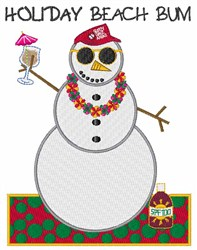 Holiday Beach Bum embroidery design