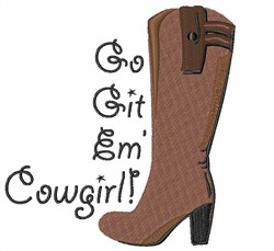 Go Get Em Cowgirl embroidery design