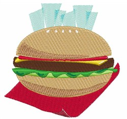Hamburger And Fries embroidery design