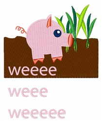 Pig Weee Weee embroidery design