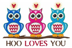 Hoo Loves You embroidery design
