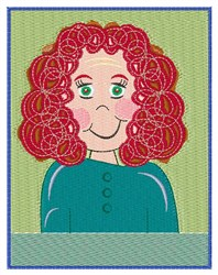 Curly Haired Girl embroidery design
