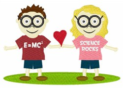 Girl and Boy Geek embroidery design