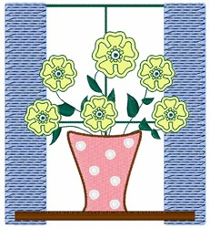 Flowers in Window embroidery design