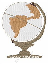 Anywhere Globe embroidery design