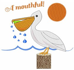 Mouthful Pelican embroidery design