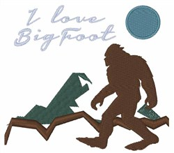 I Love Bigfoot embroidery design