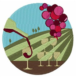 Vineyard Glasses embroidery design