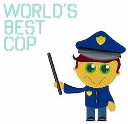 Worlds Best Cop embroidery design