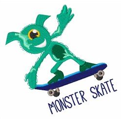 Monster Skate embroidery design