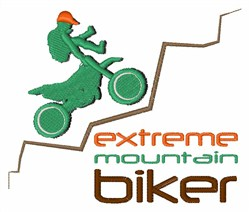 Extreme Mountain Biker embroidery design