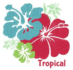 Tropical embroidery design