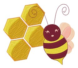 Bee & Honeycomb embroidery design