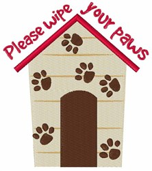 Wipe Your Paws embroidery design