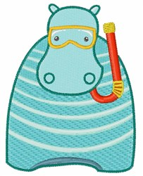 Snorkeling Hippo embroidery design