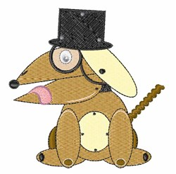 Top Hat Dog embroidery design