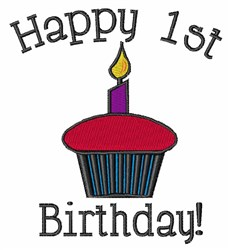 Happy 1st Birthday embroidery design