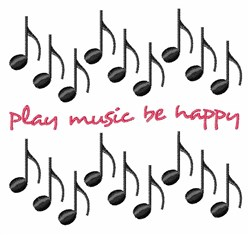 Play Music Be Happy embroidery design