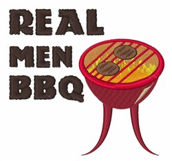 Real Men BBQ embroidery design