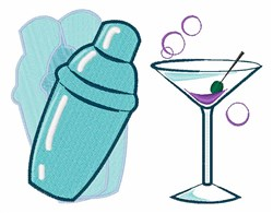 Martini & Shaker embroidery design
