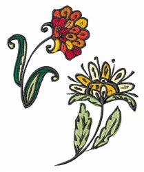 Stylized Flowers embroidery design