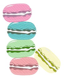 French Macaron embroidery design