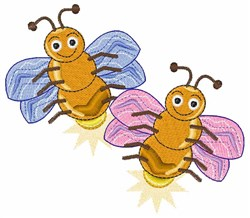 Two Fireflies embroidery design