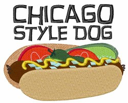 Chicago Style Dog embroidery design
