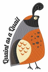 Quaint As Quail embroidery design