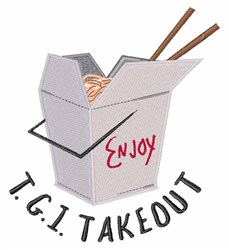 TGI Takeout embroidery design