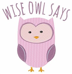 Wise Owl Says embroidery design
