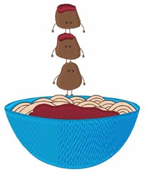 Spaghetti & Meatballs embroidery design