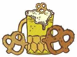 Beer & Pretzels embroidery design