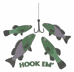 Hook Em embroidery design