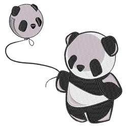 Panda With Balloon embroidery design