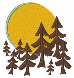 Moon & Trees embroidery design