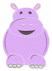 Cartoon Hippo embroidery design